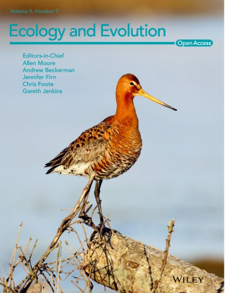 "Scientific paper by researcher selected to the cover of journal ""Ecology and Evolution"""