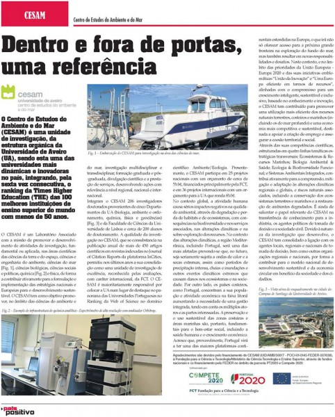 "Report about CESAM in the Supplement of JN and DN ""País Positivo"""